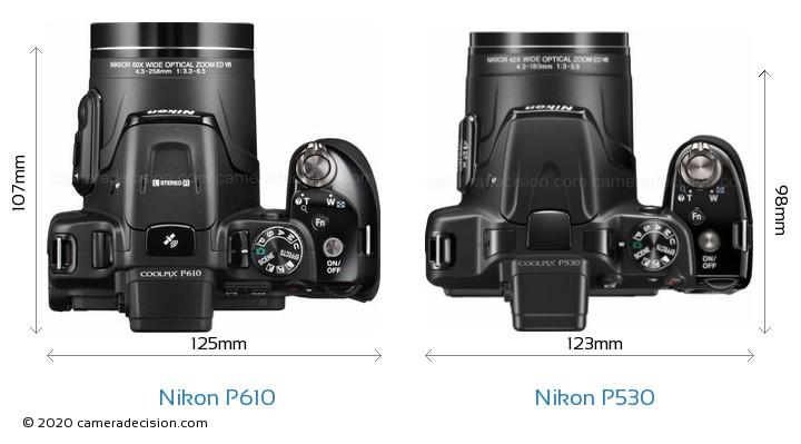 Nikon P610 vs Nikon P530 Camera Size Comparison - Top View