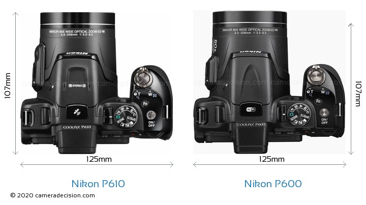 Nikon P610 vs Nikon P600 Camera Size Comparison - Top View