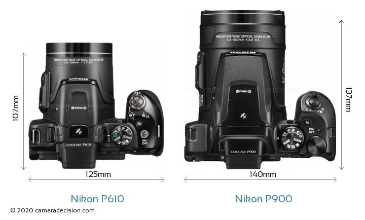 Nikon P610 vs Nikon P900 Camera Size Comparison - Top View