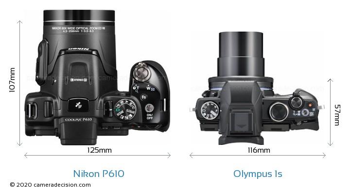 Nikon P610 vs Olympus 1s Camera Size Comparison - Top View