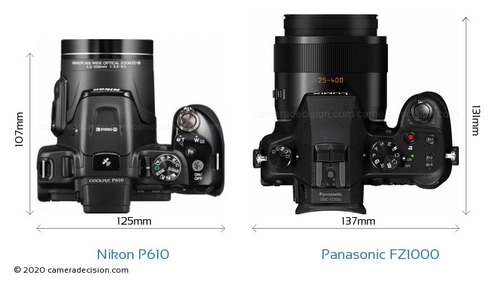 Nikon P610 vs Panasonic FZ1000 Camera Size Comparison - Top View