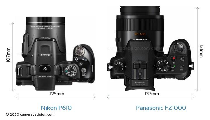 Nikon P610 vs Panasonic FZ1000 Camera Size Comparison - Top View