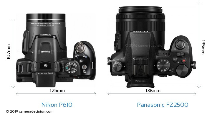 Nikon P610 vs Panasonic FZ2500 Camera Size Comparison - Top View