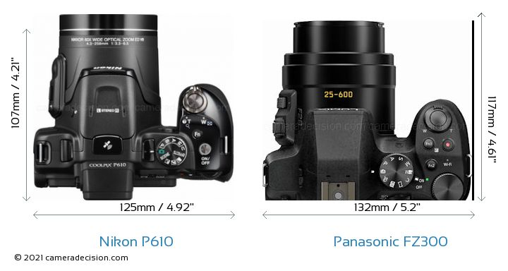 Nikon P610 vs Panasonic FZ300 Camera Size Comparison - Top View