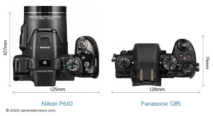 Nikon P610 vs Panasonic G85 Camera Size Comparison - Top View