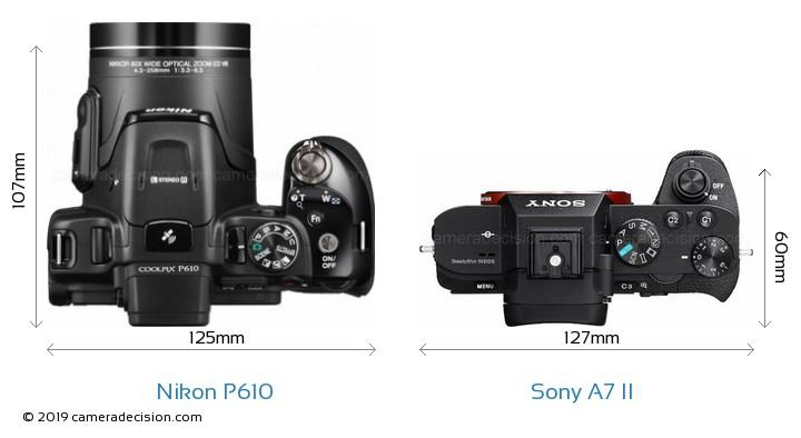 Nikon P610 vs Sony A7 II Camera Size Comparison - Top View