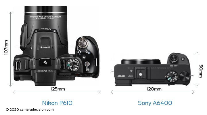 Nikon P610 vs Sony A6400 Camera Size Comparison - Top View