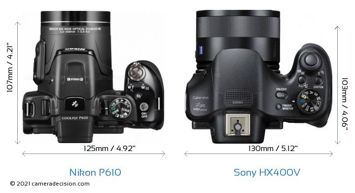 Nikon P610 vs Sony HX400V Camera Size Comparison - Top View