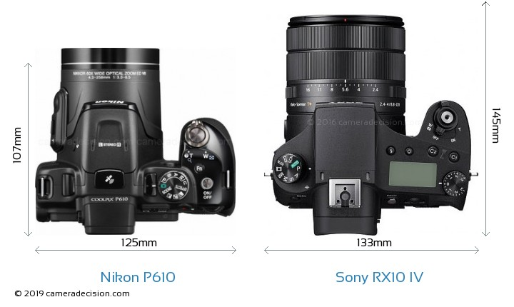 Nikon P610 vs Sony RX10 IV Camera Size Comparison - Top View