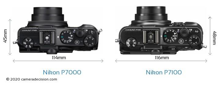 Nikon P7000 vs Nikon P7100 Camera Size Comparison - Top View