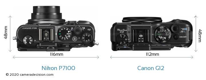 Nikon P7100 vs Canon G12 Camera Size Comparison - Top View
