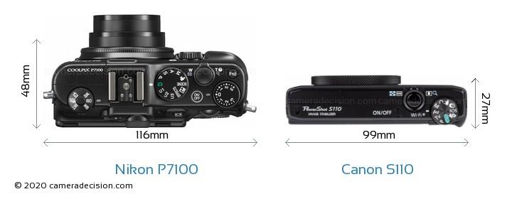 Nikon P7100 vs Canon S110 Camera Size Comparison - Top View