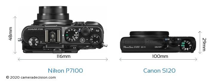 Nikon P7100 vs Canon S120 Camera Size Comparison - Top View