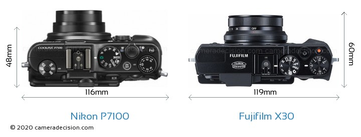 Nikon P7100 vs Fujifilm X30 Camera Size Comparison - Top View