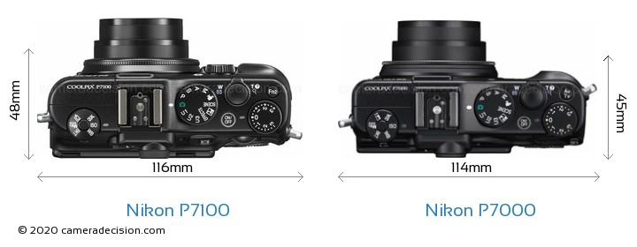 Nikon P7100 vs Nikon P7000 Camera Size Comparison - Top View