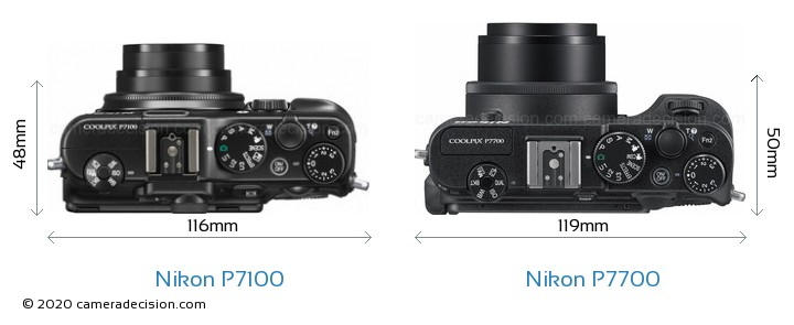Nikon P7100 vs Nikon P7700 Camera Size Comparison - Top View