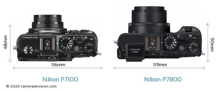 Nikon P7100 vs Nikon P7800 Camera Size Comparison - Top View