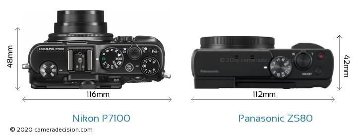 Nikon P7100 vs Panasonic ZS80 Camera Size Comparison - Top View