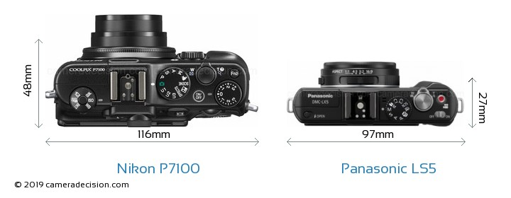 Nikon P7100 vs Panasonic LS5 Camera Size Comparison - Top View