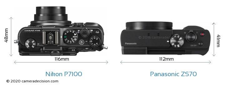 Nikon P7100 vs Panasonic ZS70 Camera Size Comparison - Top View