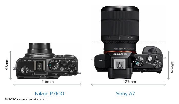 Nikon P7100 vs Sony A7 Camera Size Comparison - Top View