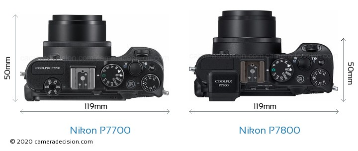 Nikon P7700 vs Nikon P7800 Camera Size Comparison - Top View