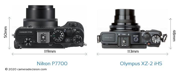 Nikon P7700 vs Olympus XZ-2 iHS Camera Size Comparison - Top View