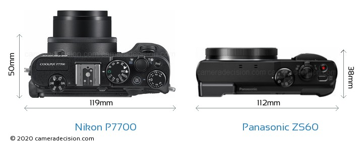 Nikon P7700 vs Panasonic ZS60 Camera Size Comparison - Top View