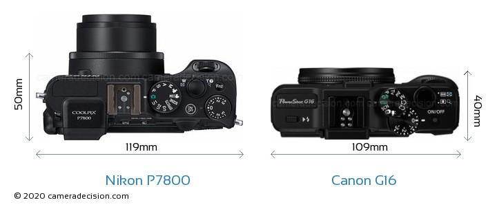 Nikon P7800 vs Canon G16 Camera Size Comparison - Top View