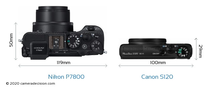 Nikon P7800 vs Canon S120 Camera Size Comparison - Top View