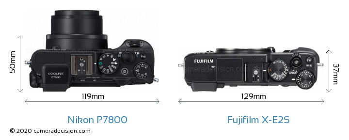 Nikon P7800 vs Fujifilm X-E2S Camera Size Comparison - Top View