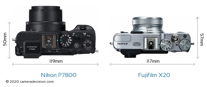 Nikon P7800 vs Fujifilm X20 Camera Size Comparison - Top View