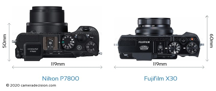 Nikon P7800 vs Fujifilm X30 Camera Size Comparison - Top View