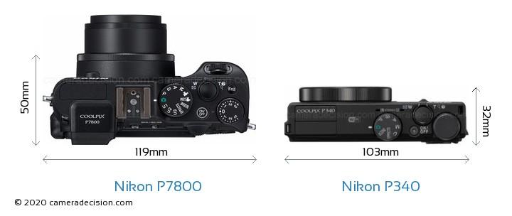 Nikon P7800 vs Nikon P340 Camera Size Comparison - Top View