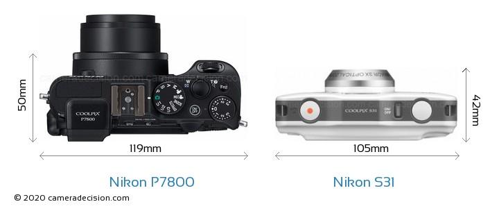 Nikon P7800 vs Nikon S31 Camera Size Comparison - Top View