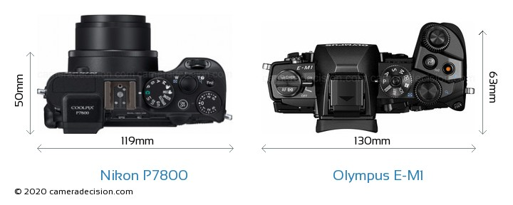 Nikon P7800 vs Olympus E-M1 Camera Size Comparison - Top View