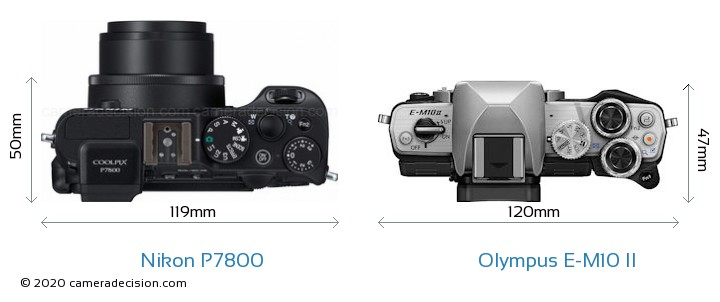 Nikon P7800 vs Olympus E-M10 II Camera Size Comparison - Top View