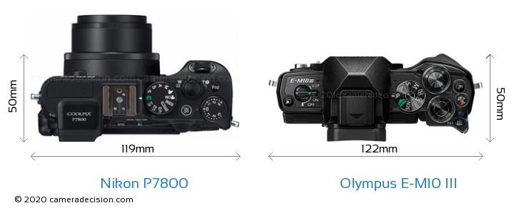 Nikon P7800 vs Olympus E-M10 MIII Camera Size Comparison - Top View