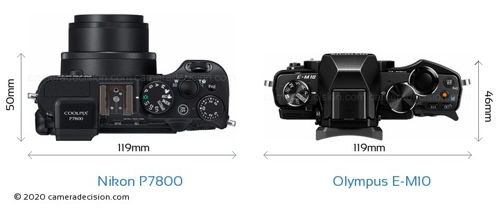 Nikon P7800 vs Olympus E-M10 Camera Size Comparison - Top View