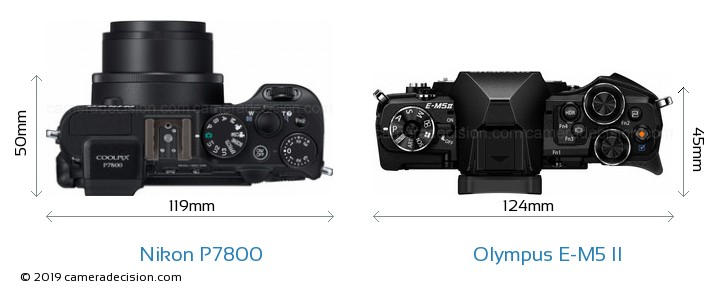 Nikon P7800 vs Olympus E-M5 II Camera Size Comparison - Top View