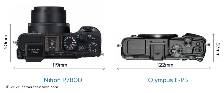 Nikon P7800 vs Olympus E-P5 Camera Size Comparison - Top View