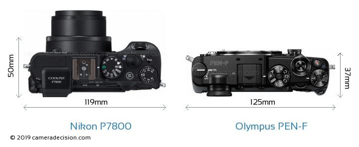 Nikon P7800 vs Olympus PEN-F Camera Size Comparison - Top View