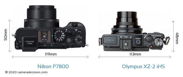 Nikon P7800 vs Olympus XZ-2 iHS Camera Size Comparison - Top View