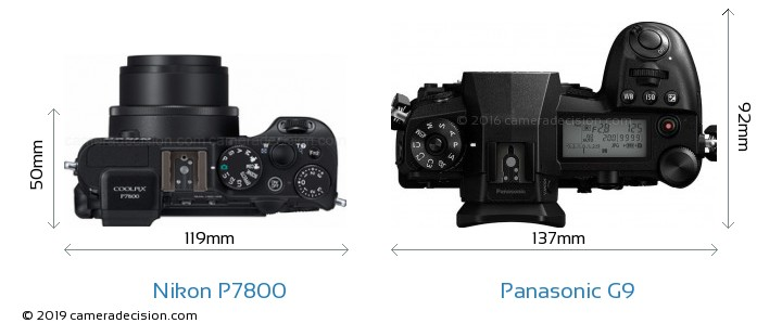 Nikon P7800 vs Panasonic G9 Camera Size Comparison - Top View