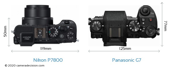 Nikon P7800 vs Panasonic G7 Camera Size Comparison - Top View