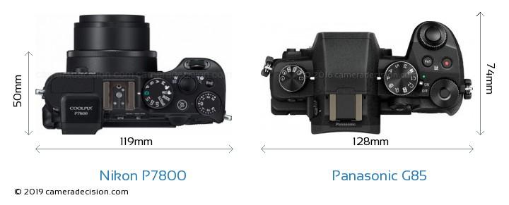 Nikon P7800 vs Panasonic G85 Camera Size Comparison - Top View