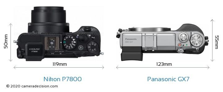Nikon P7800 vs Panasonic GX7 Camera Size Comparison - Top View