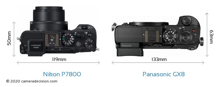 Nikon P7800 vs Panasonic GX8 Camera Size Comparison - Top View