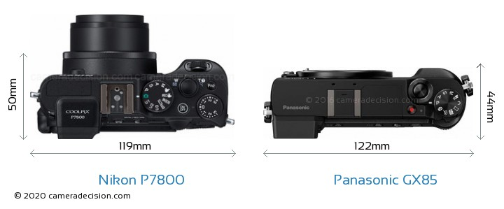 Nikon P7800 vs Panasonic GX85 Camera Size Comparison - Top View