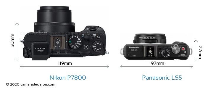 Nikon P7800 vs Panasonic LS5 Camera Size Comparison - Top View
